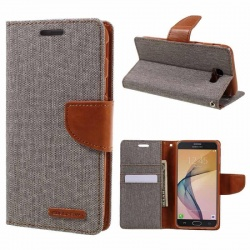 Samsung Galaxy J5(2016)  Canvas Wallet Case  Grey