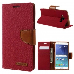Samsung Galaxy J5(2016)  Canvas Wallet Case  Red