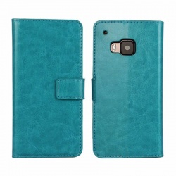 HTC One M9 PU Leather Wallet Case Blue