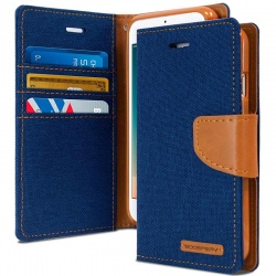 Huawei P8 Lite(2017) Canvas Wallet Case Blue