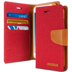 Huawei P8 Lite(2017) Canvas Wallet Case Red