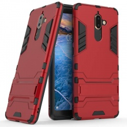 Nokia 7 Plus Dual Layer Armor Hard Slim Hybrid Kickstand Cover Red
