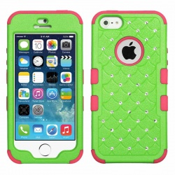 iPhone SE/5S/5 MyBat  Natural Pearl Green/Electric Pink FullStar TUFF Hybrid Protector Cover