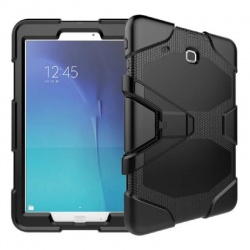 Samsung Galaxy Tab E 9.6 Inch T560 - Three Layer Heavy Duty Shockproof Protective with Kickstand Bumper Case Black