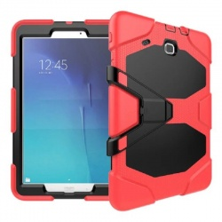 Samsung Galaxy Tab E 9.6 Inch T560 - Three Layer Heavy Duty Shockproof Protective with Kickstand Bumper Case Red