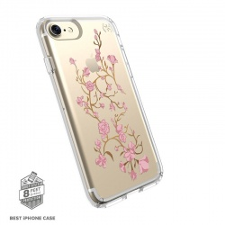 iPhone 7 / iPhone 8 Case  Speck Presidio Series- Clear - Flower Pattern