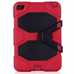 iPad Mini 4  Three Layer Heavy Duty Shockproof Protective with Kickstand Bumper Case Red
