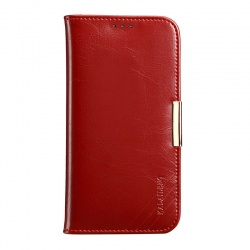iPhone SE/5S/5 Genuine Leather Wallet Case WineRed