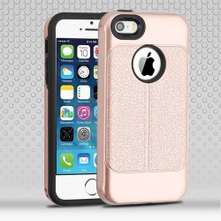 iPhone SE/5S/5 Rose Gold Leather Texture/Black Hybrid Protector Cover