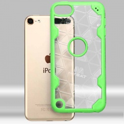iPod Touch (6th Generation) MYBAT Transparent Clear/Electric Green Challenger Hybrid Protector Cover-Triangles