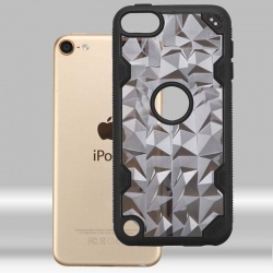 iPod Touch (6th Generation) MYBAT Transparent Smoke Polygon/Black Challenger Hybrid Protector Cover