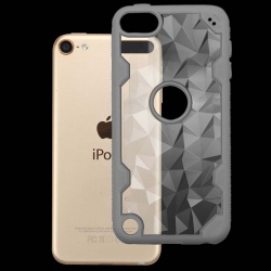iPod Touch (6th Generation) MYBAT Transparent Clear Polygon/Iron Gray Challenger Hybrid Protector Cover