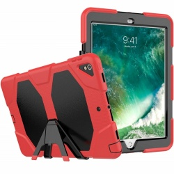 iPad Pro 10.5 Inch Case  Three Layer Heavy Duty Shockproof Protective with Kickstand Bumper Cover Red