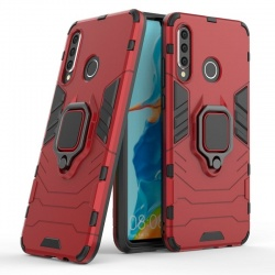Huawei P Smart 2019  Case - Red Heavy Duty Ring Armor