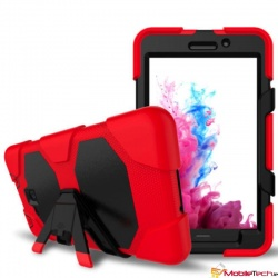 Samsung Galaxy Tab-A-7 Inch Three Layer Heavy Duty Shockproof Protective with Kickstand Bumper Case Red