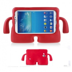 Samsung Galaxy Tab A 7'' Case for Kids Rubber Shock Proof Cover with Carry Handle Red