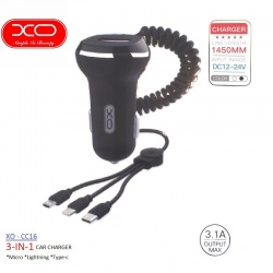 3 in 1 Car Charger Set |Type-C|Micro|Lightning| XO