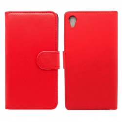 Sony Xperia L1 PU Leather Wallet Case Red