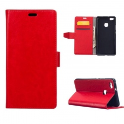 Huawei P9 Lite PU Leather Wallet Case  Red