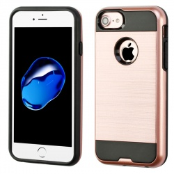 iPhone 7 / iPhone 8 Case ASMYNA Brushed Hybrid Protector- Black/RoseGold