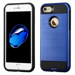 iPhone 7 / iPhone 8 Case ASMYNA Brushed Hybrid Protector- Black/Dark Blue