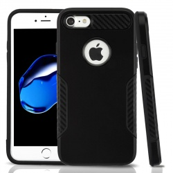 iPhone 7 / iPhone 8 Case ASMYNA Black/Black Hybrid Protector Cover