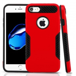 iPhone 7 / iPhone 8 Case ASMYNA Red/Black Hybrid Protector Cover