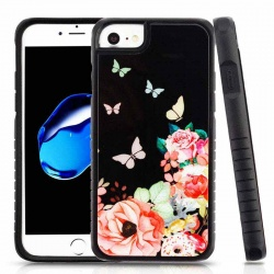 iPhone 7 / iPhone 8 Case MYBAT Butterfly Dancing Tempered Glass/Black Fusion Protector Cover