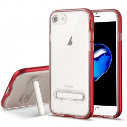 iPhone 7 / iPhone 8 Case Clear Hybrid Protector- Red