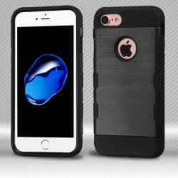 iPhone 7 / iPhone 8 Case MYBAT Black/Black Brushed TUFF Trooper Hybrid Protector Cover