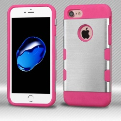 iPhone 7 / iPhone 8 Case MYBAT Silver/Electric Pink Brushed TUFF Trooper Hybrid Protector Cover