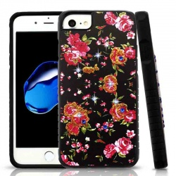 iPhone 7 / iPhone 8 Case Romantic Love Flowers/Black Diamante Hybrid Protector Cover