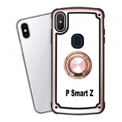 Huawei P Smart Z Clear Back Shockproof Cover With Ring Holder Rosegold