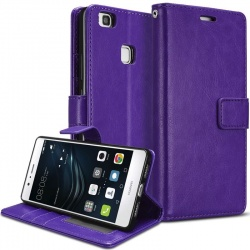 Huawei P9 Lite PU Leather Wallet Case  Purple
