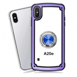 Samsung Galaxy A20e Clear Back Shockproof Cover With Ring Holder Purple