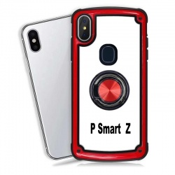 Huawei P Smart Z Clear Back Shockproof Cover With Ring Holder Red