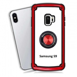 Samsung Galaxy S9 Clear Back Shockproof Cover With Ring Holder Red
