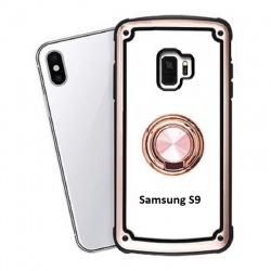 Samsung Galaxy S9 Clear Back Shockproof Cover With Ring Holder Rosegold