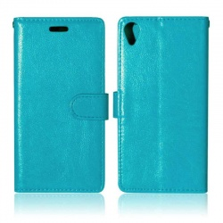 Sony Xperia X PU Leather Wallet Case Blue