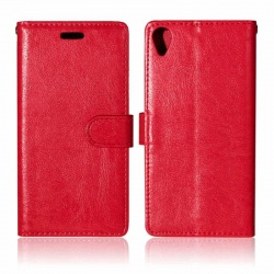 Sony Xperia X PU Leather Wallet Case Red