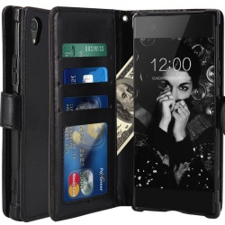 Sony Xperia XA1 PU Leather Wallet Case Black