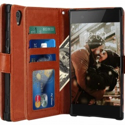 Sony Xperia XA1 PU Leather Wallet Case Brown
