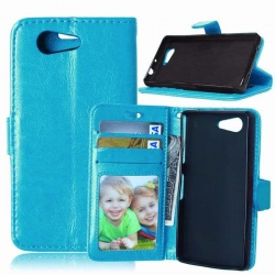 Sony Xperia Z3 Mini PU Leather Wallet Case Blue