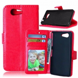 Sony Xperia Z3 Mini PU Leather Wallet Case Red