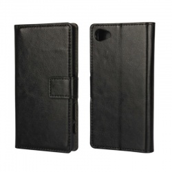 Sony Xperia Z5 Mini PU Leather Wallet Case Black