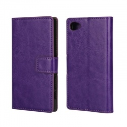 Sony Xperia Z5 Mini PU Leather Wallet Case Purple