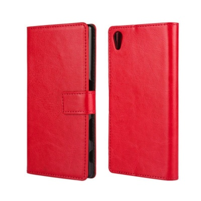 Sony Xperia Z5 PU Leather Wallet Case Red