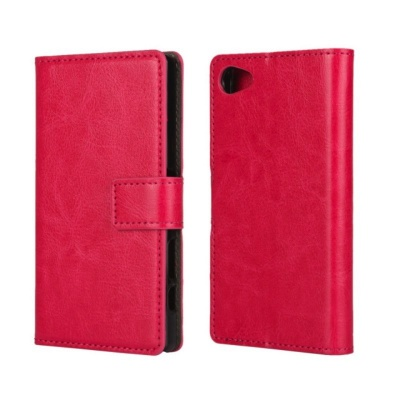 Sony Xperia Z5 Mini PU Leather Wallet Case Pink